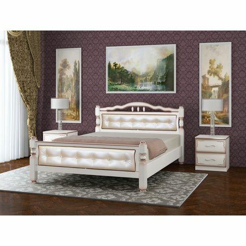 Двуспальная кровать Карина-11 дуб молочный, светлая купить в Калининграде