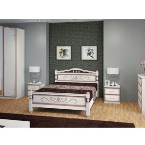 Кровать с узором Карина-5 дуб молочный в Калининграде, купить двуспальную кровать недорого в Мебельном доме Диамир