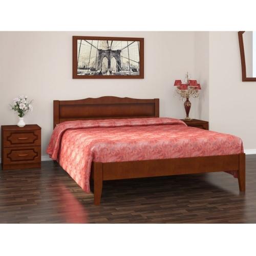 Простая кровать в спальню Карина в цвете орех в Калининграде, купить двуспальную кровать недорого в Мебельном доме Диамир