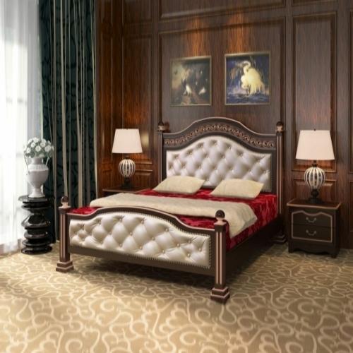 Роскошная кровать Клеопатрав цвете орех темный в Калининграде, купить двуспальную кровать недорого в Мебельном доме Диамир