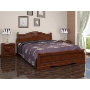 Двуспальная кровать с рисунком Карина-2 в цвете орех