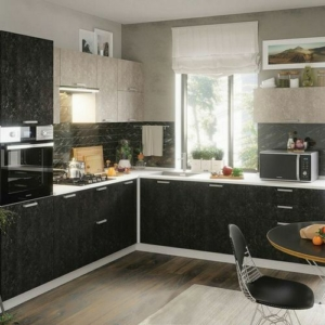 Кухня чёрная Бетон